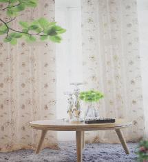 白色經典花紋-窗簾布