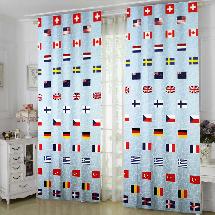 世界國旗1-三明治遮光窗簾布323953-窗簾布
