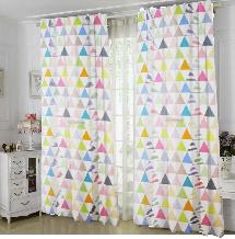 彩色三角圖案-三明治遮光窗簾布138465-窗簾布