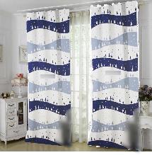 活潑兩色線條2-三明治遮光窗簾布137813-窗簾布