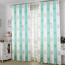 大氣綠白線條-三明治遮光窗簾布324907-窗簾布